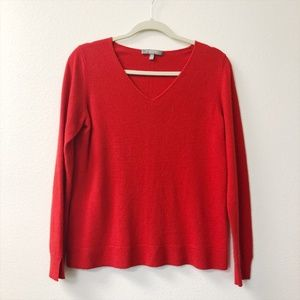 Neiman Marcus Cashmere Red V-Neck Sweater Medium